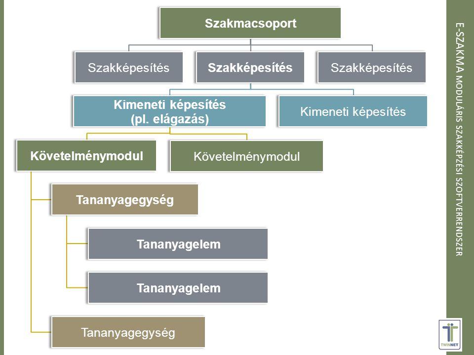 E-SZAKMA MODULÁRIS SZAKKÉPZÉSI SZOFTVERRENDSZER Szakmacsoport Szakképesítés Kimeneti képesítés (pl.