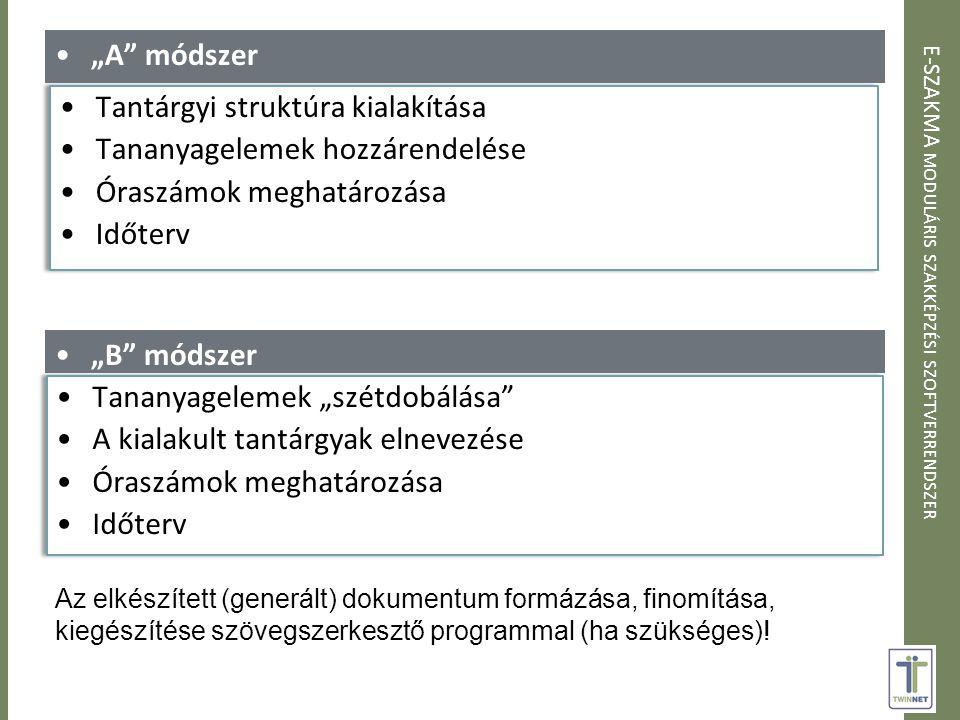"""E-SZAKMA MODULÁRIS SZAKKÉPZÉSI SZOFTVERRENDSZER """"A módszer """"B módszer Az elkészített (generált) dokumentum formázása, finomítása, kiegészítése szövegszerkesztő programmal (ha szükséges)!"""