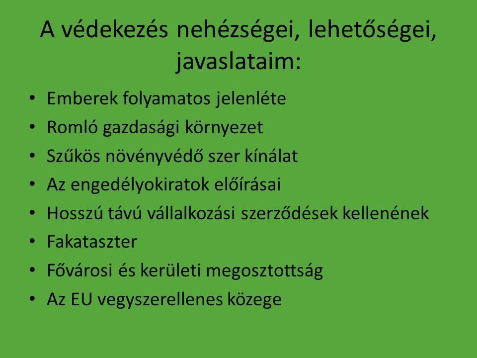 A védekezés nehézségei, lehetőségei, javaslataim: Emberek folyamatos jelenléte Romló gazdasági környezet Szűkös növényvédő szer kínálat Az engedélyokiratok előírásai Hosszú távú vállalkozási szerződések kellenének Fakataszter Fővárosi és kerületi megosztottság Az EU vegyszerellenes közege