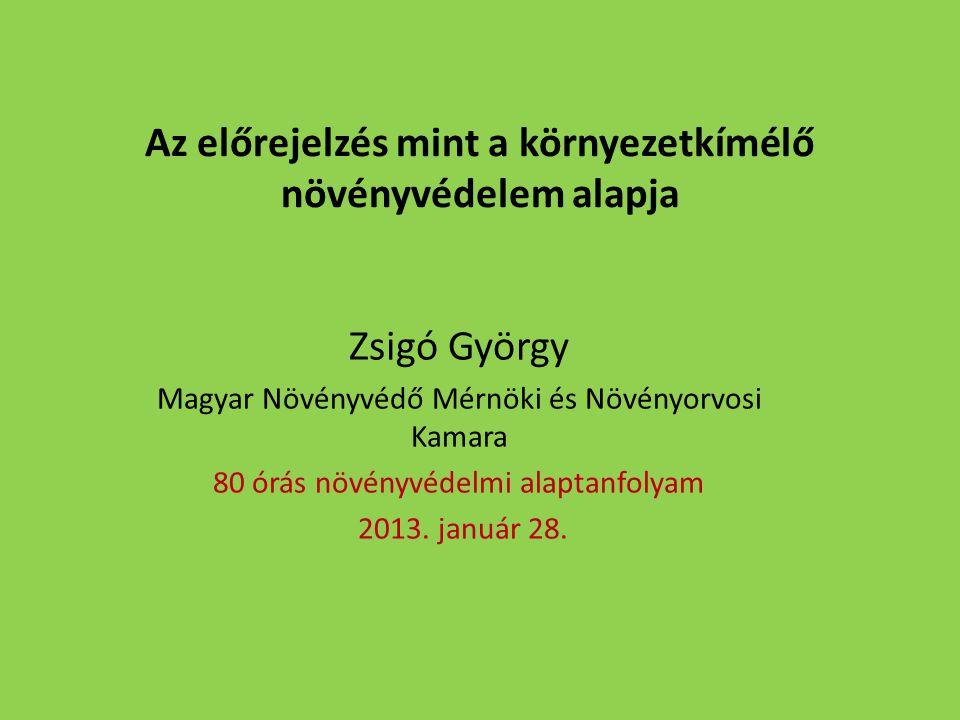 Az előrejelzés mint a környezetkímélő növényvédelem alapja Zsigó György Magyar Növényvédő Mérnöki és Növényorvosi Kamara 80 órás növényvédelmi alaptanfolyam 2013.