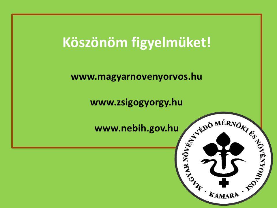 Köszönöm figyelmüket! www.magyarnovenyorvos.hu www.zsigogyorgy.hu www.nebih.gov.hu