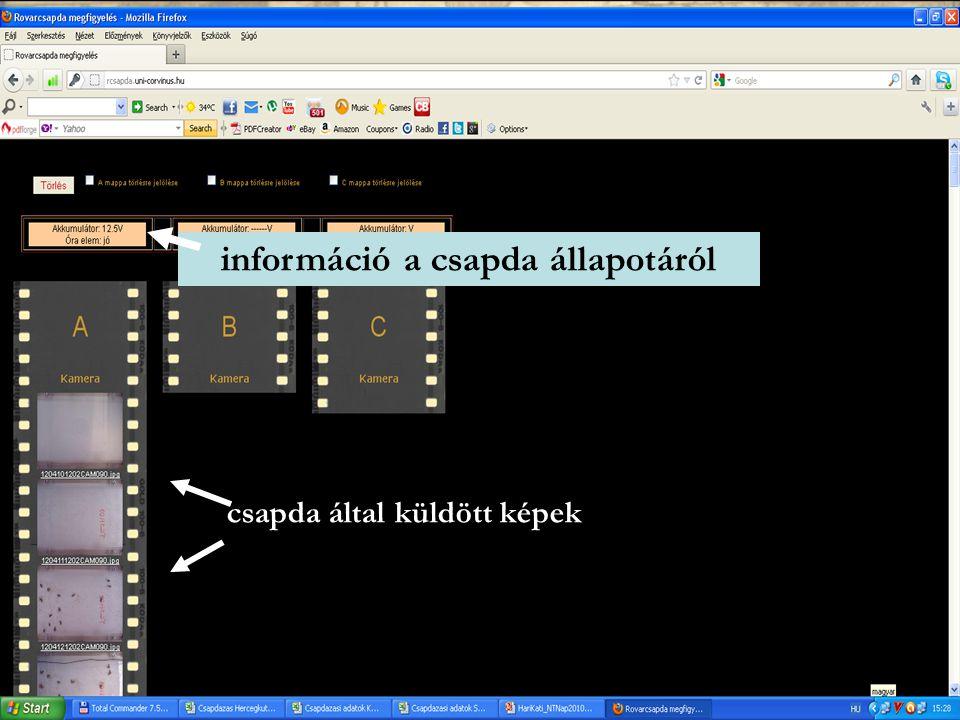 csapda által küldött képek információ a csapda állapotáról