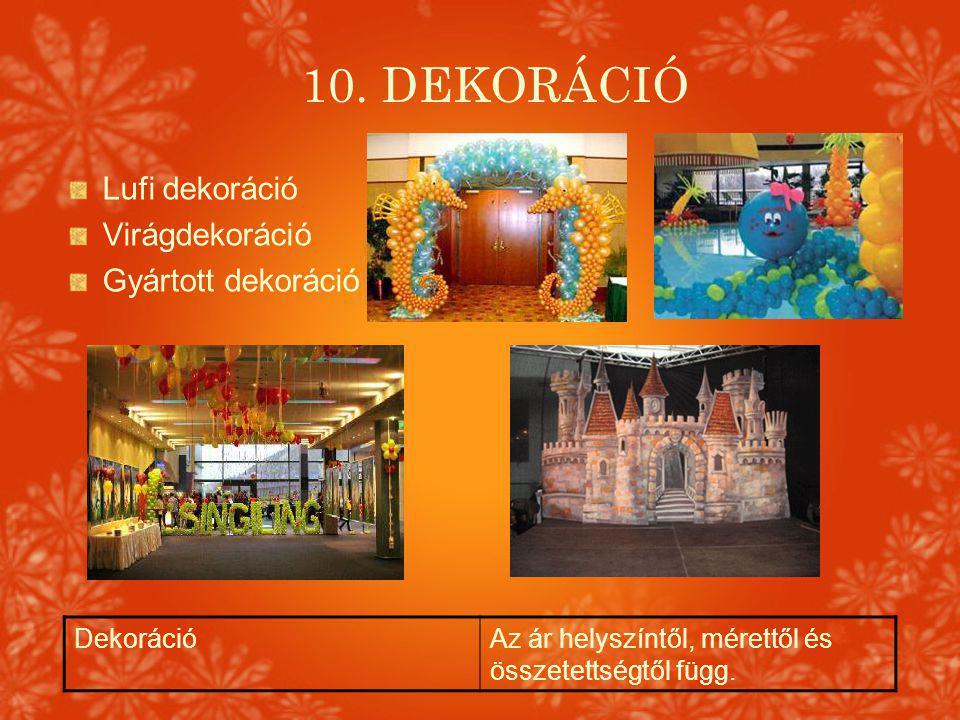 10. DEKORÁCIÓ DekorációAz ár helyszíntől, mérettől és összetettségtől függ. Lufi dekoráció Virágdekoráció Gyártott dekoráció