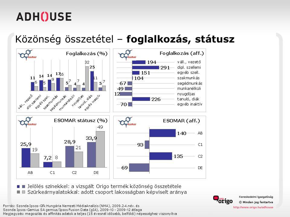 Közönség összetétel – foglalkozás, státusz Forrás: Szonda Ipsos-Gfk Hungária Nemzeti MédiaAnalízis (NMA), 2009.2 -4.név. és Szonda Ipsos-Gemius SA gem