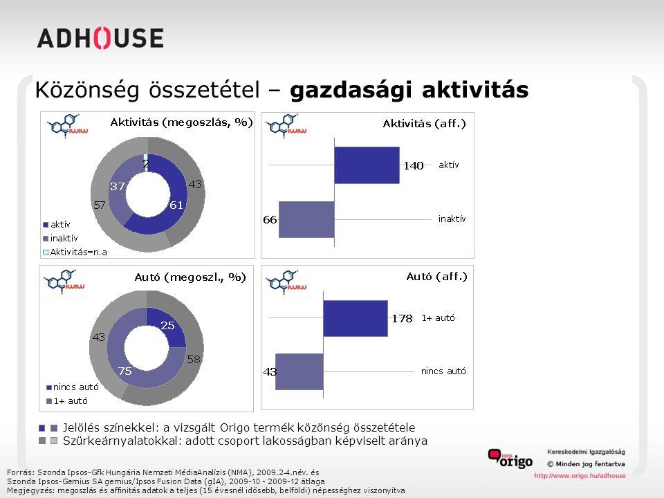 Közönség összetétel – gazdasági aktivitás Forrás: Szonda Ipsos-Gfk Hungária Nemzeti MédiaAnalízis (NMA), 2009.2 -4.név. és Szonda Ipsos-Gemius SA gemi