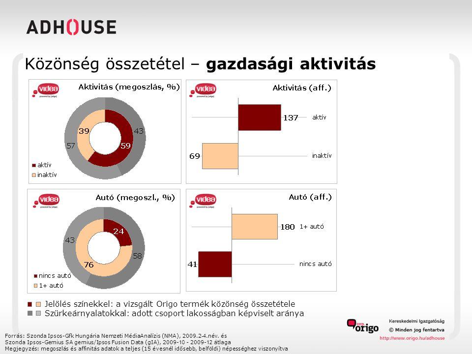 Közönség összetétel – gazdasági aktivitás Forrás: Szonda Ipsos-Gfk Hungária Nemzeti MédiaAnalízis (NMA), 2009.2 -4.név.