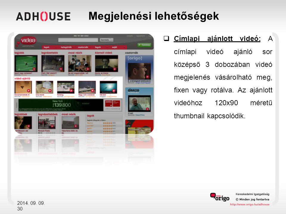  Címlapi ajánlott videó: A címlapi videó ajánló sor középső 3 dobozában videó megjelenés vásárolható meg, fixen vagy rotálva.