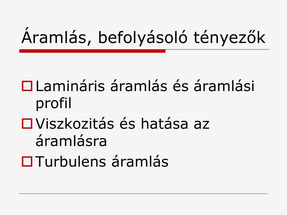 Áramlás, befolyásoló tényezők  Lamináris áramlás és áramlási profil  Viszkozitás és hatása az áramlásra  Turbulens áramlás