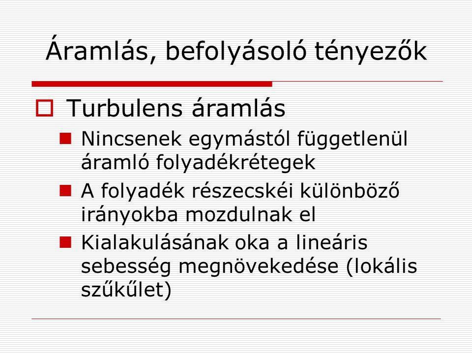 Áramlás, befolyásoló tényezők  Turbulens áramlás Nincsenek egymástól függetlenül áramló folyadékrétegek A folyadék részecskéi különböző irányokba moz