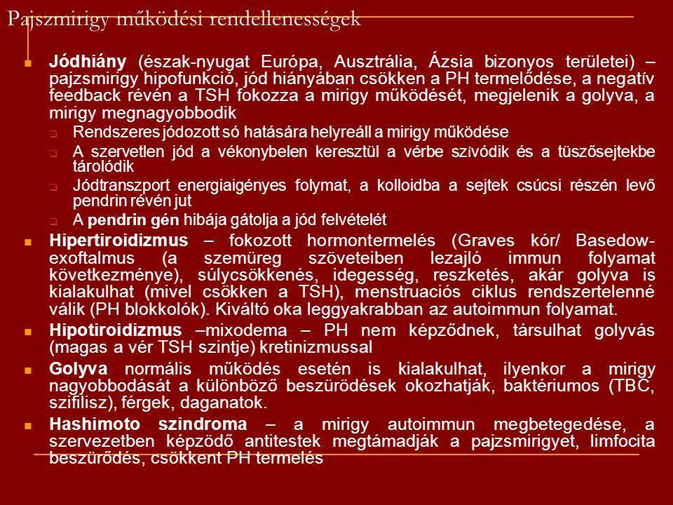 Pajszmirigy működési rendellenességek Jódhiány (észak-nyugat Európa, Ausztrália, Ázsia bizonyos területei) – pajzsmirigy hipofunkció, jód hiányában cs