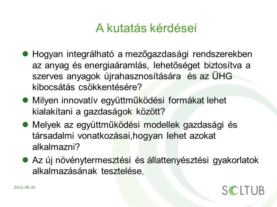 A kutatás kérdései Hogyan integrálható a mezőgazdasági rendszerekben az anyag és energiaáramlás, lehetőséget biztosítva a szerves anyagok újrahasznosí