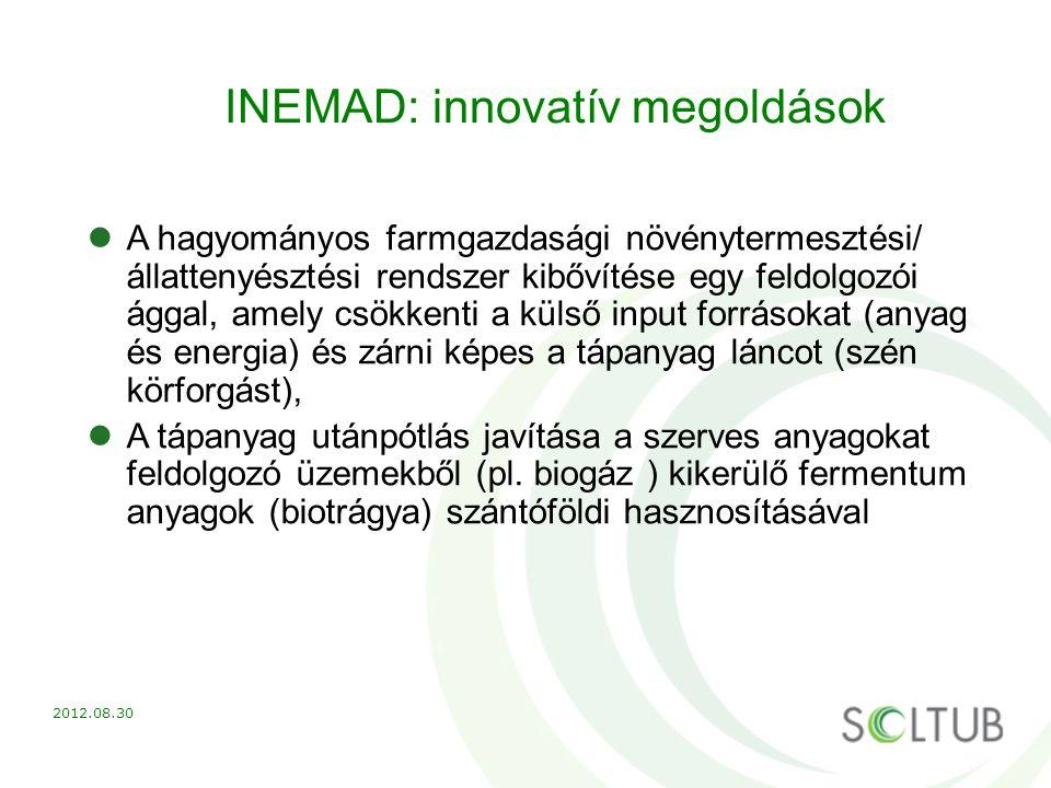 INEMAD: innovatív megoldások A hagyományos farmgazdasági növénytermesztési/ állattenyésztési rendszer kibővítése egy feldolgozói ággal, amely csökkent