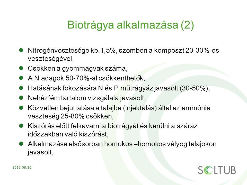 Biotrágya alkalmazása (2) Nitrogénvesztesége kb.1,5%, szemben a komposzt 20-30%-os veszteségével, Csökken a gyommagvak száma, A N adagok 50-70%-al csö