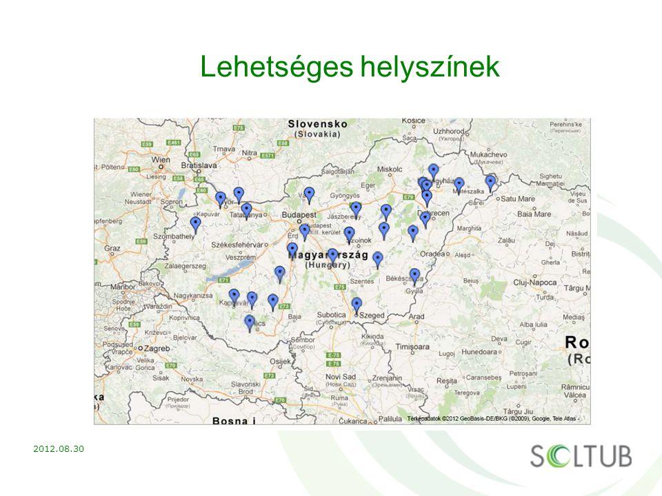 Lehetséges helyszínek 2012.08.30