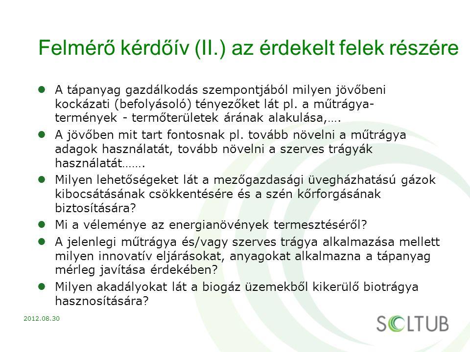 Felmérő kérdőív (II.) az érdekelt felek részére A tápanyag gazdálkodás szempontjából milyen jövőbeni kockázati (befolyásoló) tényezőket lát pl. a műtr