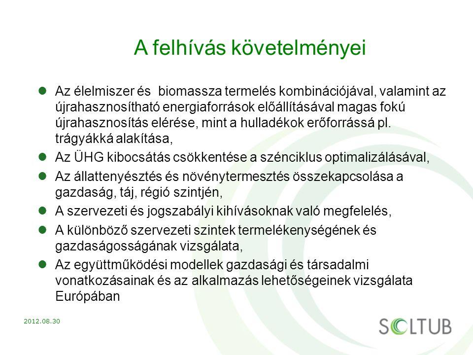 A felhívás követelményei Az élelmiszer és biomassza termelés kombinációjával, valamint az újrahasznosítható energiaforrások előállításával magas fokú