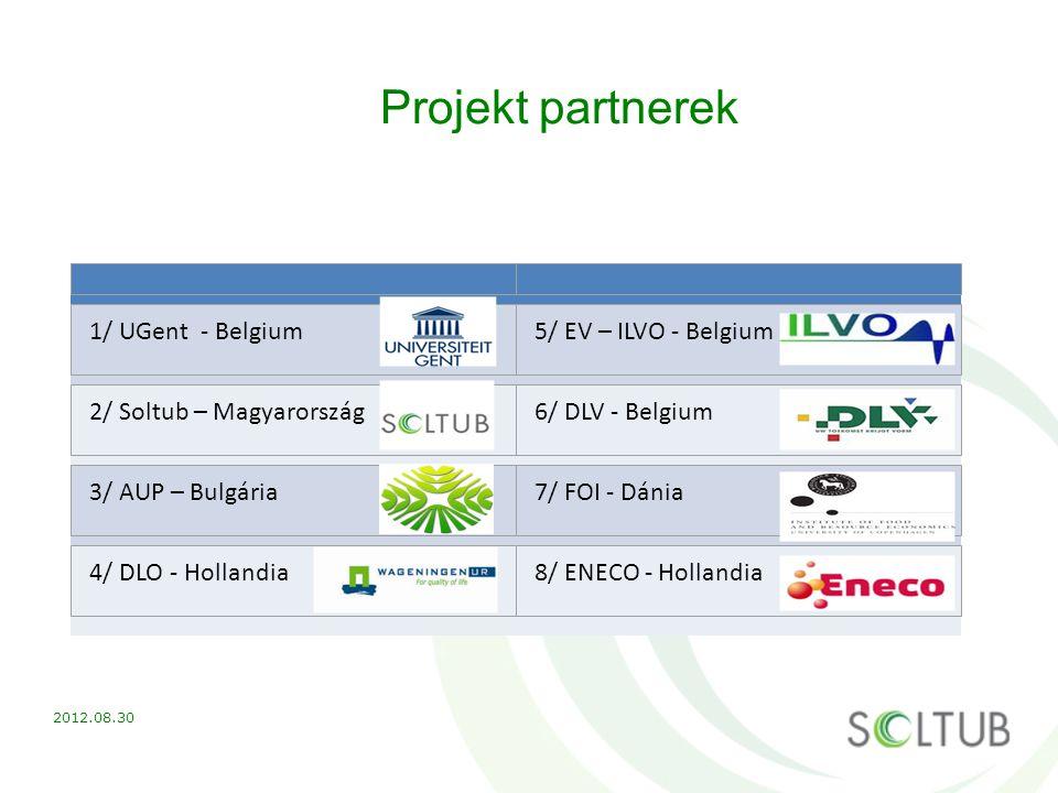 Projekt partnerek 1/ UGent - Belgium5/ EV – ILVO - Belgium 2/ Soltub – Magyarország6/ DLV - Belgium 3/ AUP – Bulgária7/ FOI - Dánia 4/ DLO - Hollandia