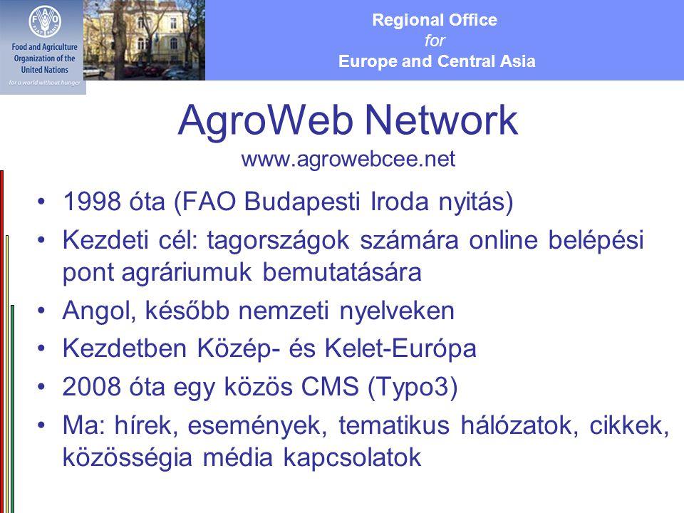 Regional Office for Europe and Central Asia AgroWeb Network www.agrowebcee.net 1998 óta (FAO Budapesti Iroda nyitás) Kezdeti cél: tagországok számára online belépési pont agráriumuk bemutatására Angol, később nemzeti nyelveken Kezdetben Közép- és Kelet-Európa 2008 óta egy közös CMS (Typo3) Ma: hírek, események, tematikus hálózatok, cikkek, közösségia média kapcsolatok