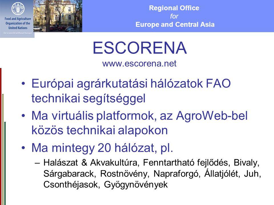 Regional Office for Europe and Central Asia ESCORENA www.escorena.net Európai agrárkutatási hálózatok FAO technikai segítséggel Ma virtuális platformok, az AgroWeb-bel közös technikai alapokon Ma mintegy 20 hálózat, pl.