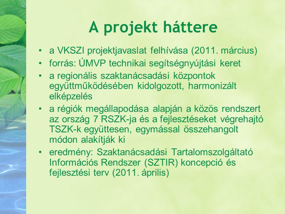 A projekt háttere a VKSZI projektjavaslat felhívása (2011.