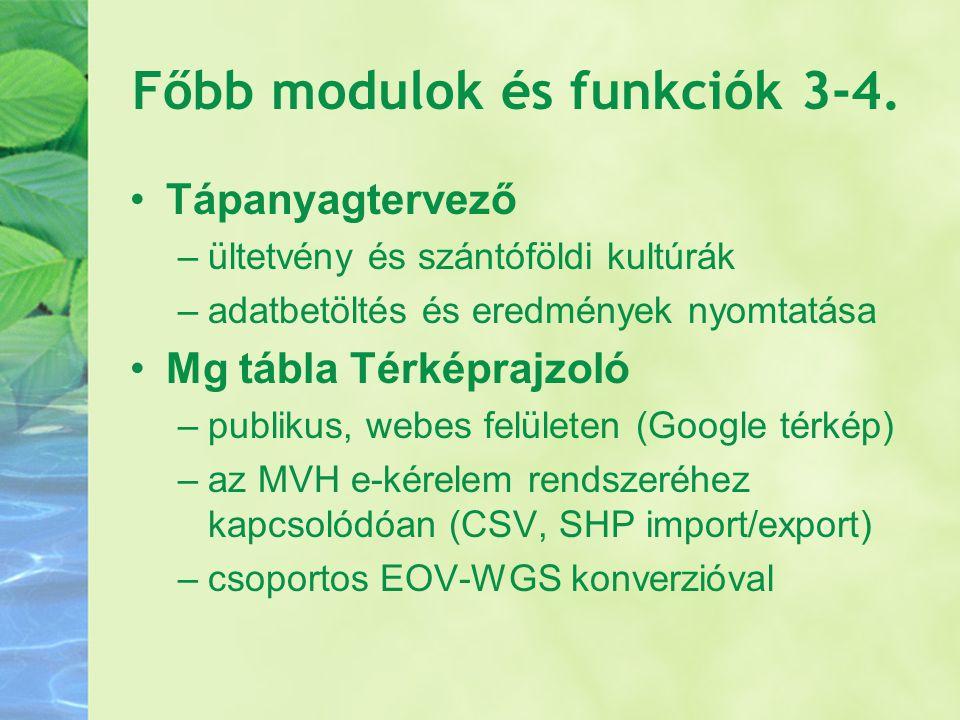 Főbb modulok és funkciók 3-4.