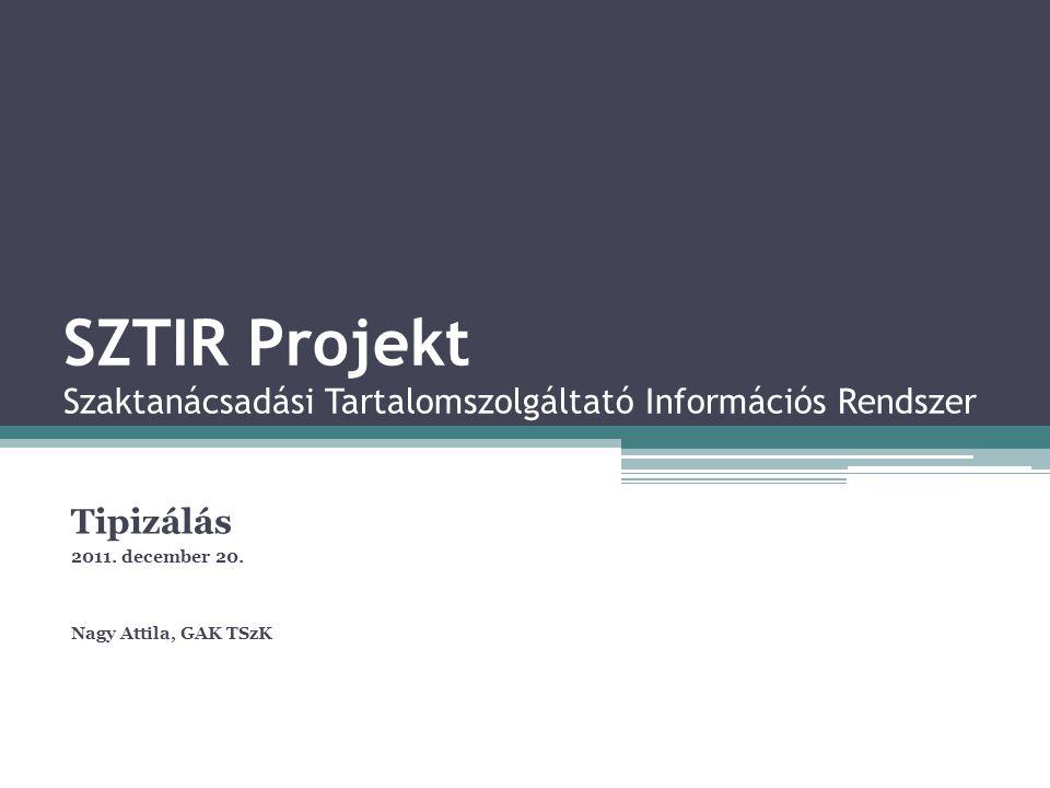 SZTIR Projekt Szaktanácsadási Tartalomszolgáltató Információs Rendszer Tipizálás 2011. december 20. Nagy Attila, GAK TSzK