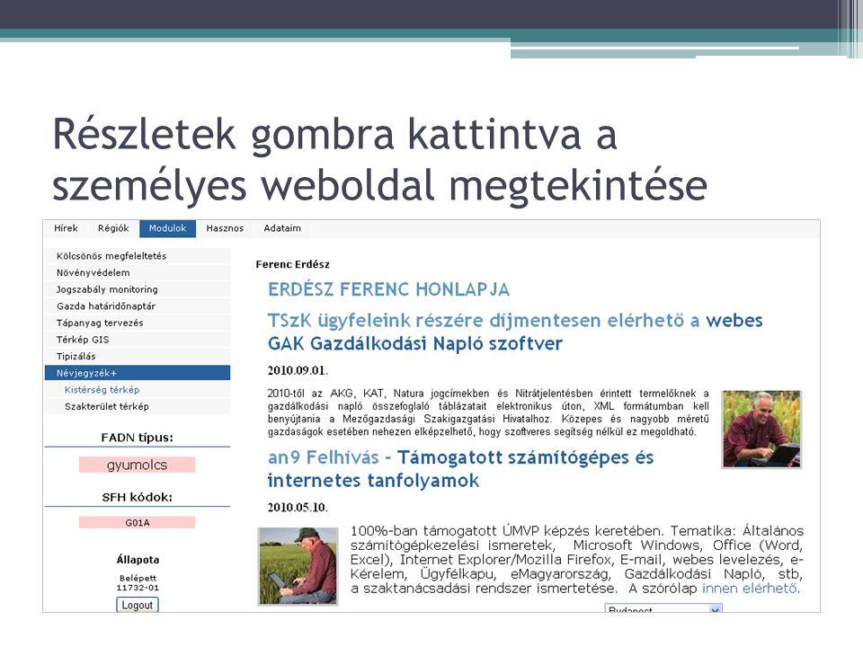 Részletek gombra kattintva a személyes weboldal megtekintése