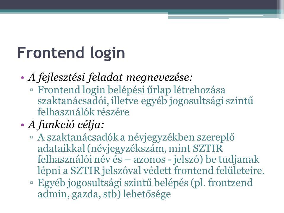 Frontend login A fejlesztési feladat megnevezése: ▫Frontend login belépési űrlap létrehozása szaktanácsadói, illetve egyéb jogosultsági szintű felhasználók részére A funkció célja: ▫A szaktanácsadók a névjegyzékben szereplő adataikkal (névjegyzékszám, mint SZTIR felhasználói név és – azonos - jelszó) be tudjanak lépni a SZTIR jelszóval védett frontend felületeire.