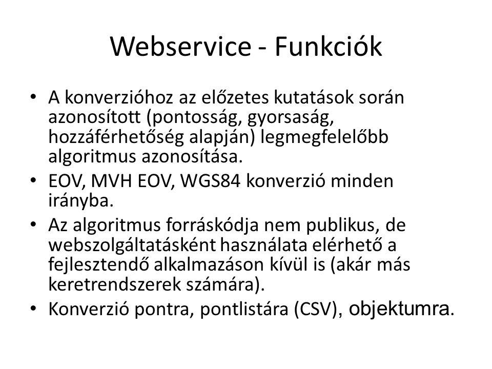 Webservice - Funkciók A konverzióhoz az előzetes kutatások során azonosított (pontosság, gyorsaság, hozzáférhetőség alapján) legmegfelelőbb algoritmus
