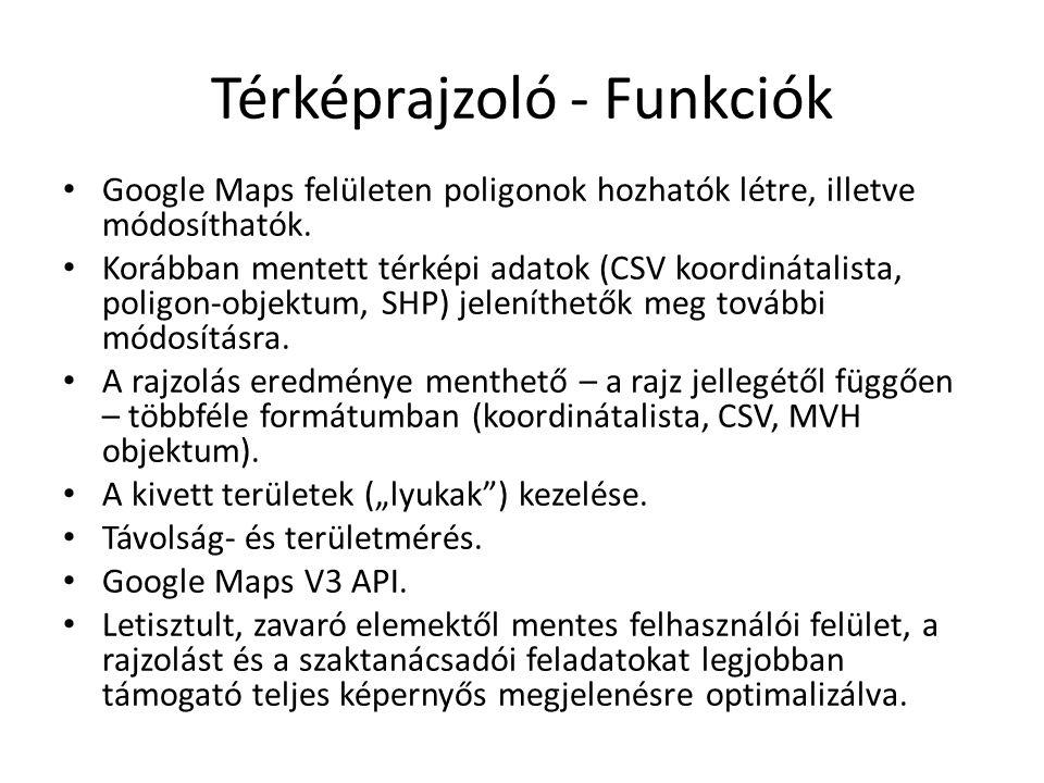 Térképrajzoló - Funkciók Google Maps felületen poligonok hozhatók létre, illetve módosíthatók. Korábban mentett térképi adatok (CSV koordinátalista, p