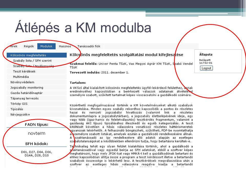 Átlépés a KM modulba