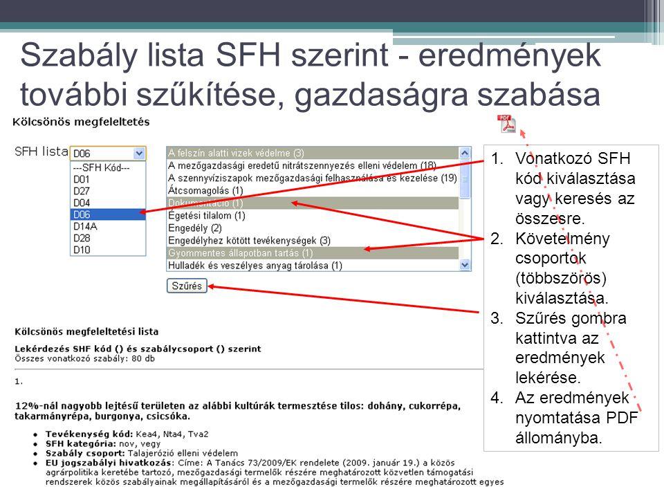 1.Vonatkozó SFH kód kiválasztása vagy keresés az összesre.