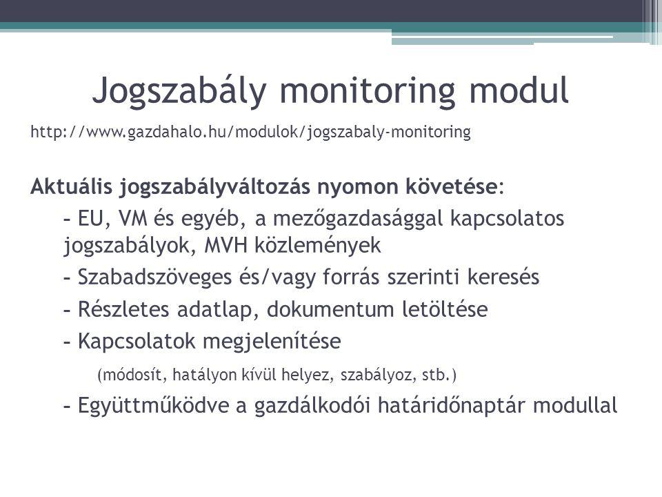 Jogszabály monitoring modul Aktuális jogszabályváltozás nyomon követése: - EU, VM és egyéb, a mezőgazdasággal kapcsolatos jogszabályok, MVH közleménye
