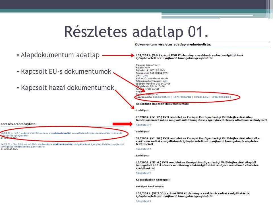 Részletes adatlap 01. Alapdokumentum adatlap Kapcsolt EU-s dokumentumok Kapcsolt hazai dokumentumok