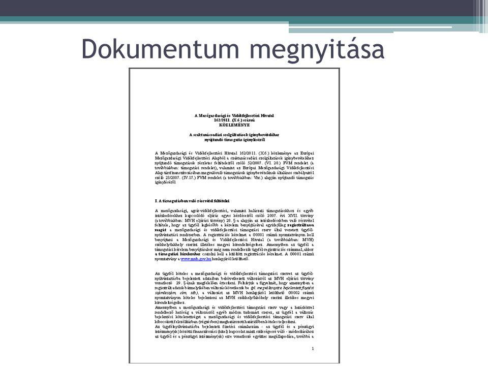 Dokumentum megnyitása