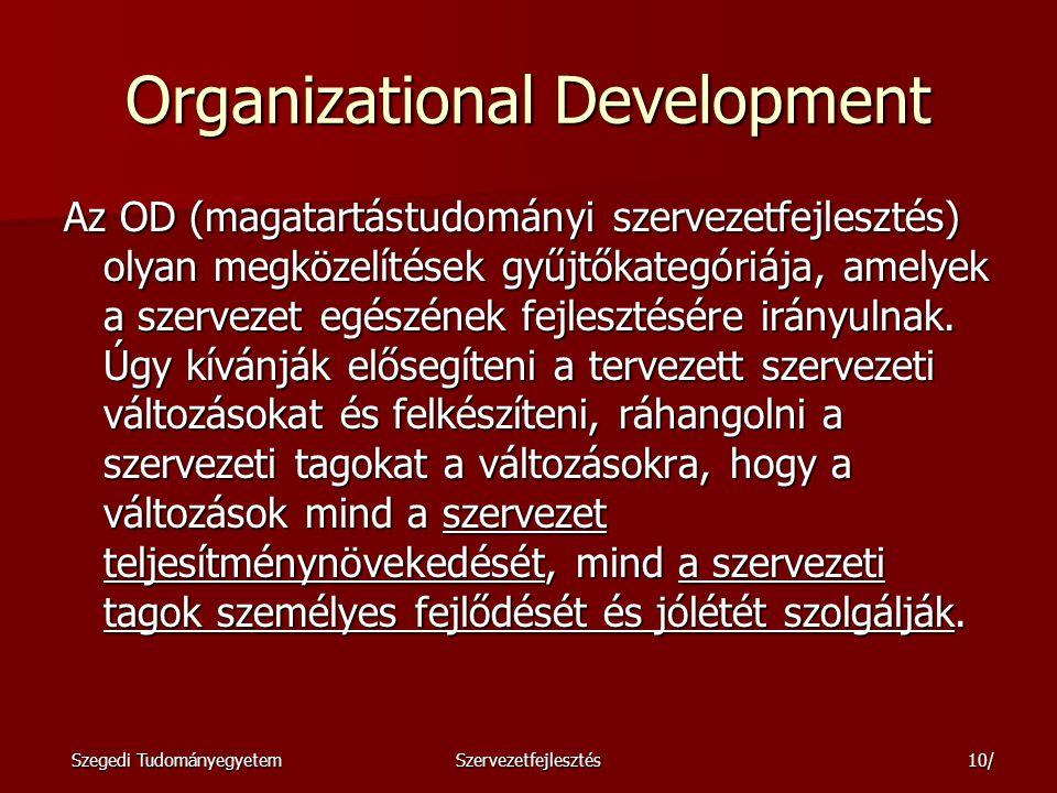 Szegedi TudományegyetemSzervezetfejlesztés11/ Miért van szükség szervezetfejlesztésre.