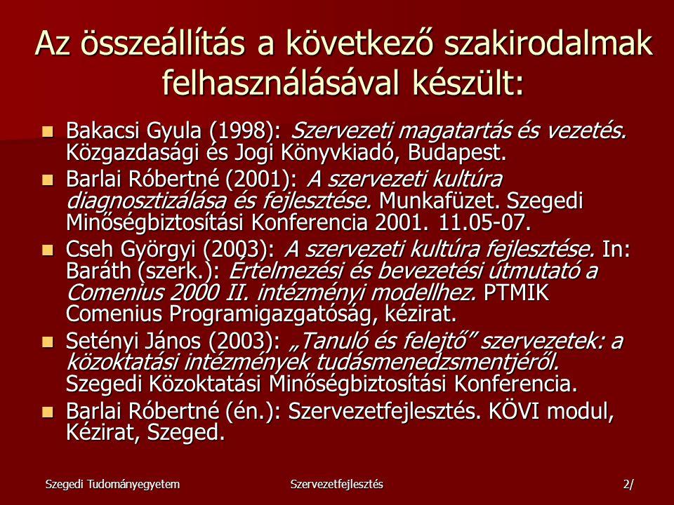Szegedi TudományegyetemSzervezetfejlesztés3/ Feladat Milyen változások azonosíthatók az elmúlt 5-7 évben az intézményekben.