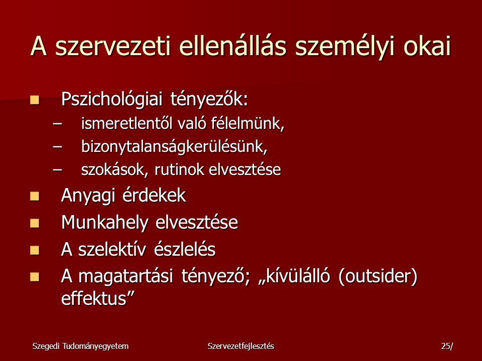 Szegedi TudományegyetemSzervezetfejlesztés26/ Az ellenállás szervezeti okai 1.
