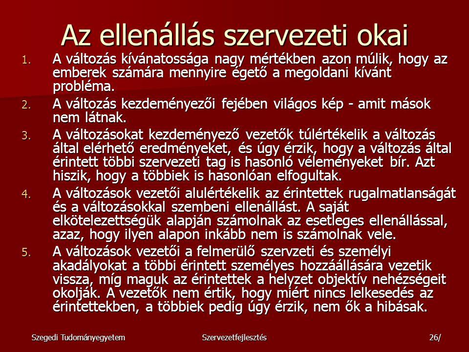 Szegedi TudományegyetemSzervezetfejlesztés27/ Az ellenállás további okai: 1.