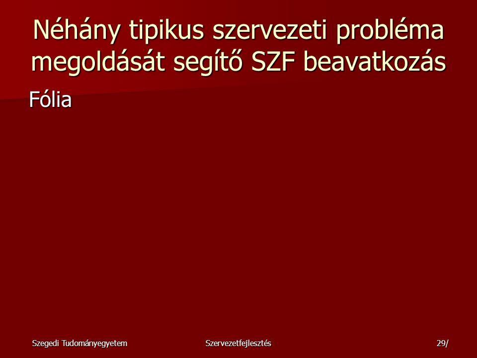 Szegedi TudományegyetemSzervezetfejlesztés30/ Változásvezetési stratégiák Fólia Fólia