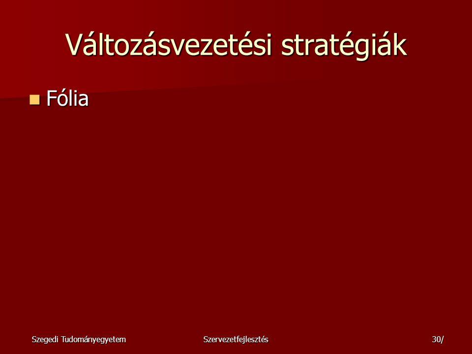 Szegedi TudományegyetemSzervezetfejlesztés31/ A változási stratégiaválasztás kontinuuma Fólia Fólia