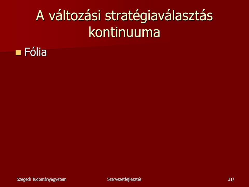 Szegedi TudományegyetemSzervezetfejlesztés32/ A lassú vagy gyors változás közötti stratégiai választáshoz meg kell fontolni: Az ellenállás előre jelezhető mértékét és formáit Az ellenállás előre jelezhető mértékét és formáit A kezdeményező és az ellenállók pozícióit, különös tekintettel a hatalmukra.