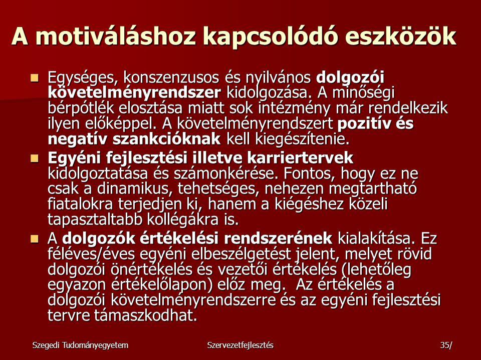 Szegedi TudományegyetemSzervezetfejlesztés36/ McClelland Kérdőív kitöltése Kérdőív kitöltése Feladat Próbáljátok saját közvetlen kollégáitokról eldönteni, hogy milyen a motivációs bázisuk.