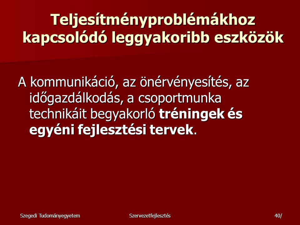 Szegedi TudományegyetemSzervezetfejlesztés41/ A humánerő-tartalékok mozgósítása A dolgozók versenyeztetése.
