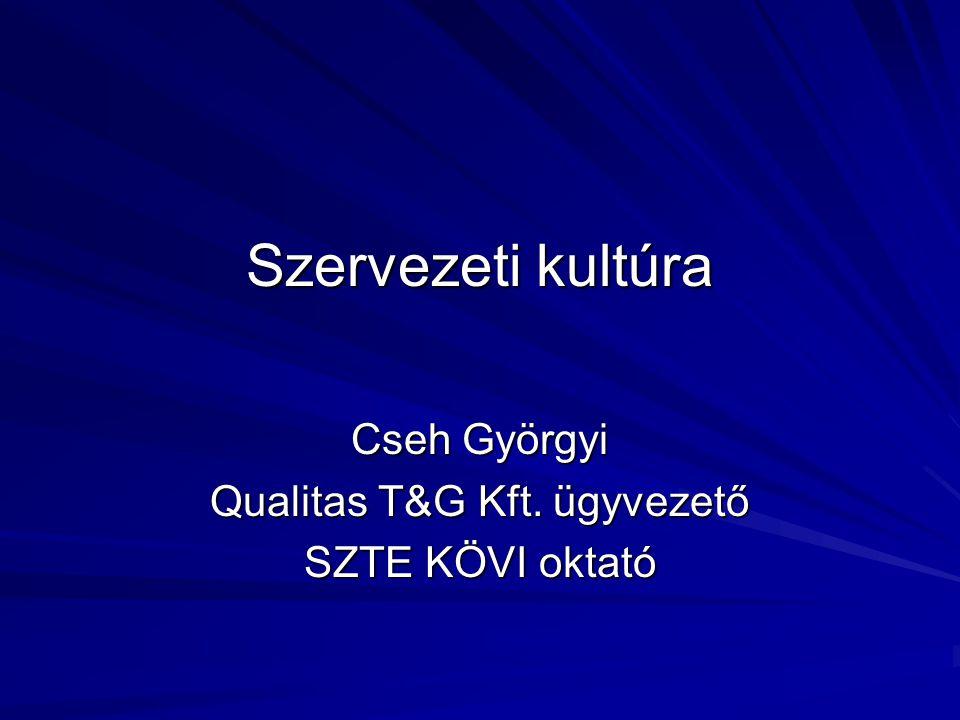 Szervezeti kultúra Cseh Györgyi Qualitas T&G Kft. ügyvezető SZTE KÖVI oktató