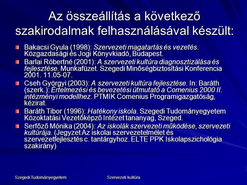 Szegedi Tudományegyetem Szervezeti kultúra Az összeállítás a következő szakirodalmak felhasználásával készült: Bakacsi Gyula (1998): Szervezeti magata