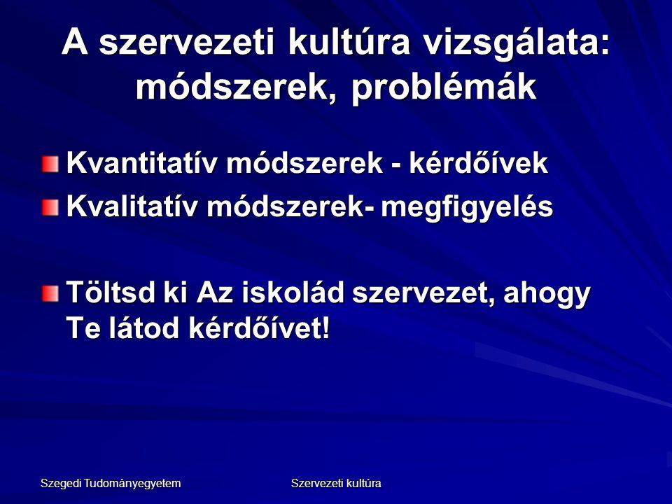 Szegedi Tudományegyetem Szervezeti kultúra A szervezeti kultúra vizsgálata: módszerek, problémák Kvantitatív módszerek - kérdőívek Kvalitatív módszere
