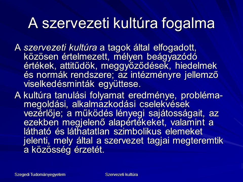 Szegedi Tudományegyetem Szervezeti kultúra A szervezeti kultúra fogalma A szervezeti kultúra a tagok által elfogadott, közösen értelmezett, mélyen beá