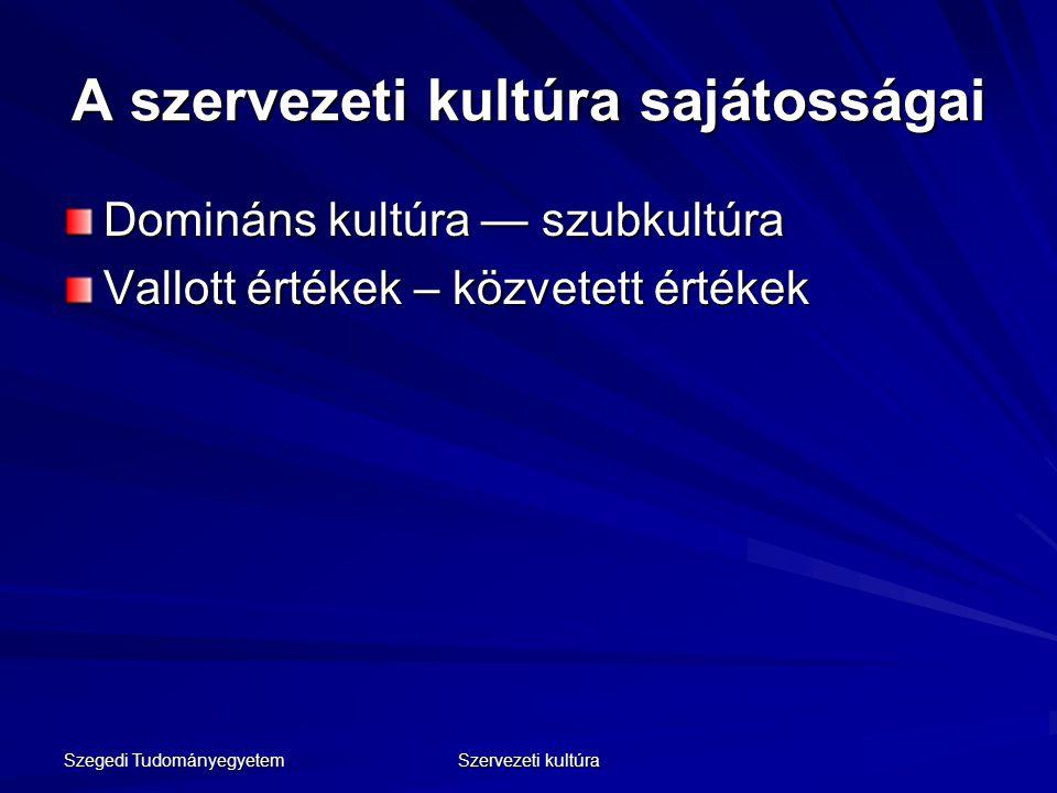 Szegedi Tudományegyetem Szervezeti kultúra A szervezeti kultúra sajátosságai Domináns kultúra — szubkultúra Vallott értékek – közvetett értékek