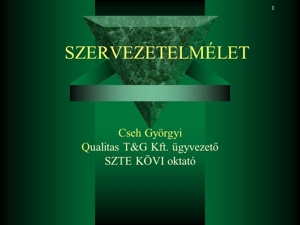 1 Cseh Györgyi Qualitas T&G Kft. ügyvezető SZTE KÖVI oktató SZERVEZETELMÉLET